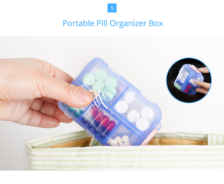 Tablet Medicine Vitamin Pill Box for Purse or Pocket, Bidear Portable Weekly Travel Pill Case, 10 Compartments 7