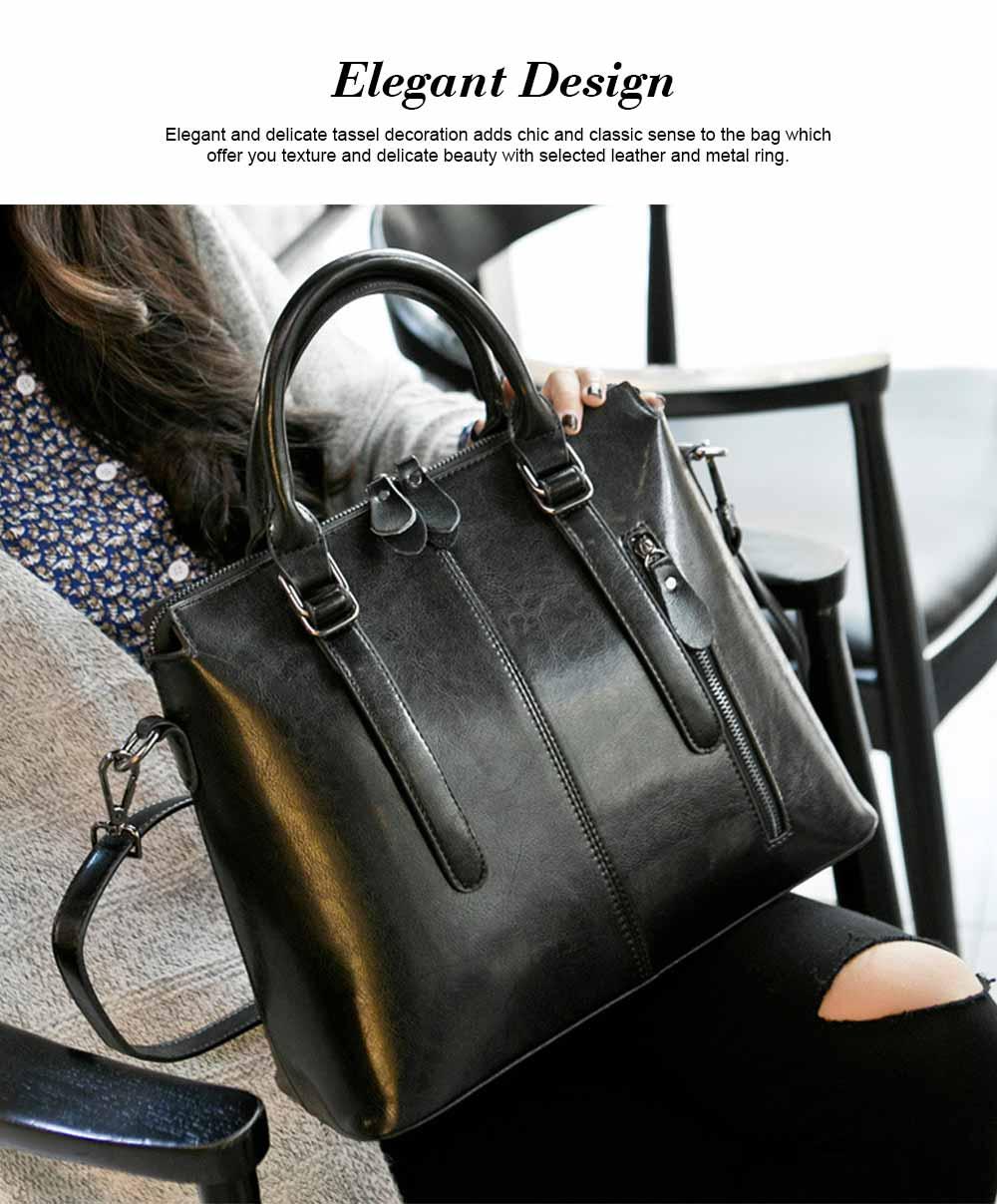 Oil Wax Leather Handbags With Adjustable Shoulder Strap, Fashion Ladies Portable Slung Shoulder Bag 1