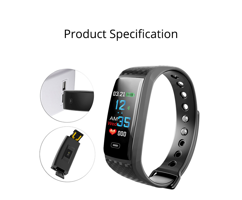 Color Screen Smart Bracelet, Step Counter Fitness Tracker with USB Quick Charge for Heart Rate Monitoring and Blood Pressure Monitoring 9