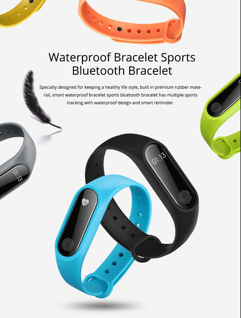 Waterproof Sports Bluetooth Smart Bracelet for Attendance Clock System, Call Reminder and Rate Monitoring 0