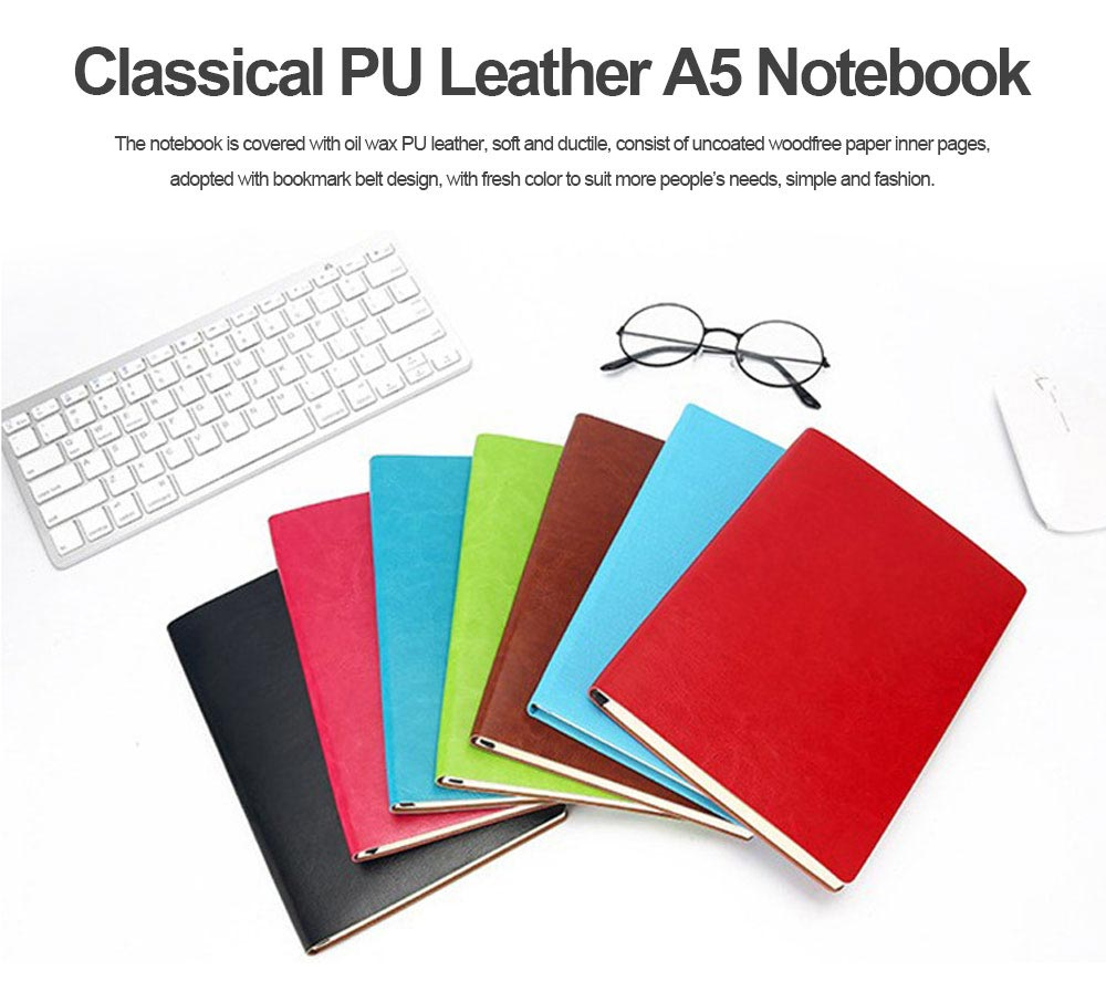 Classical PU Leather A5 Notebook Journal Diary, Uncoated Woodfree Paper Schedule Planner Memo Organizer 200 Pages 0