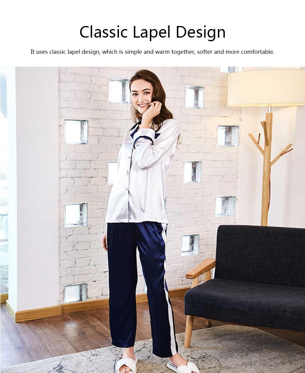 Classic Lapel Women's Long Sleeve Pajama 2 PCS Set, Imitation Silk Fabric Contrast Splicing Tracksuit 10
