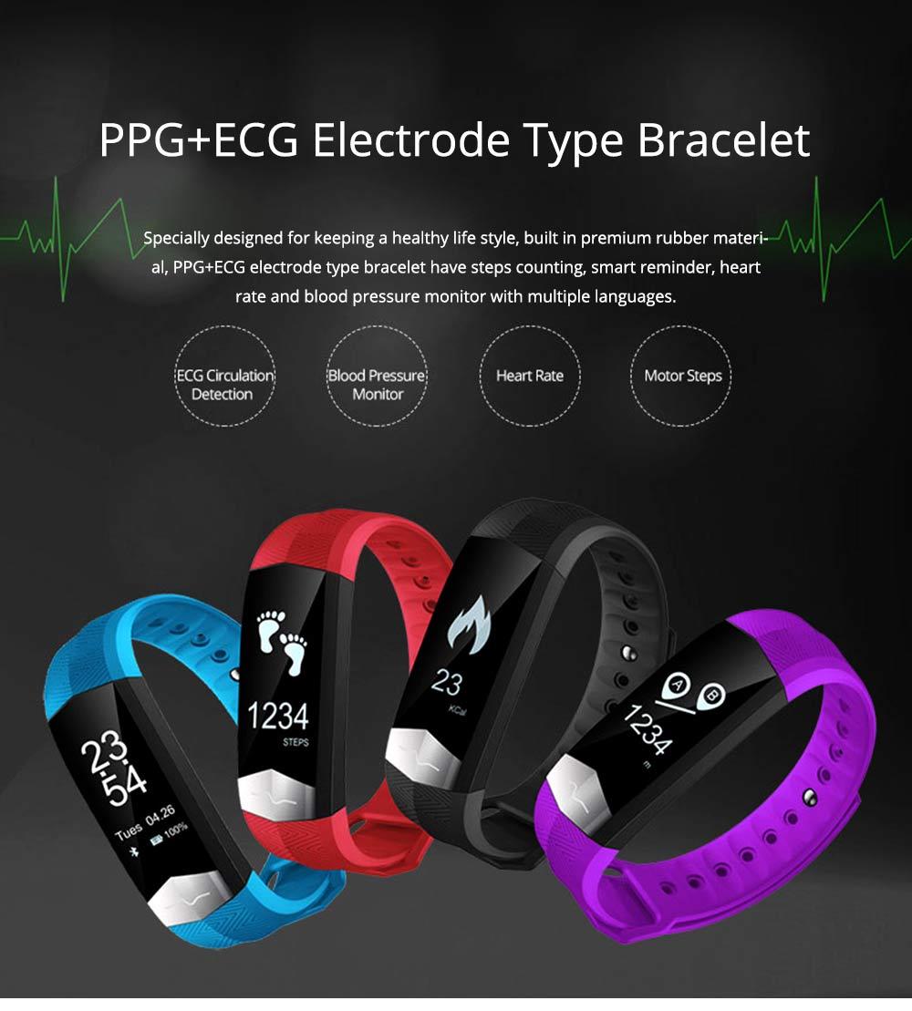 Blood Pressure and Heart Rate Bracelet, Electrocardiogram Smart Bracelet with Multiple Languages for PPG+ECG Electrode type 0