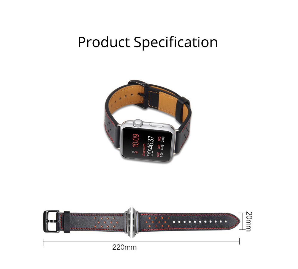 Genuine Leather Apple Watchband Strap with Stainless Steel Watch Buckle, 220mm 7