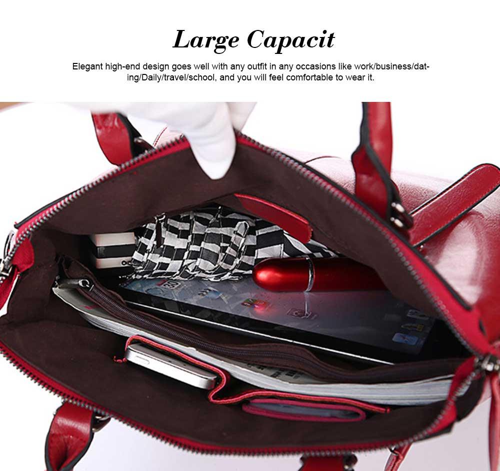 Oil Wax Leather Handbags With Adjustable Shoulder Strap, Fashion Ladies Portable Slung Shoulder Bag 5