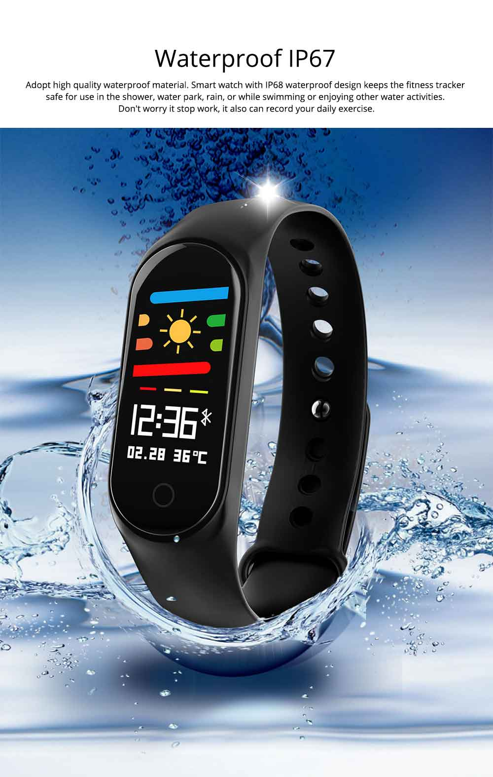 Waterproof Color Screen Smart Bracelet with Multiple-sports Modes for Heart Rate & Oxygen Monitoring 8