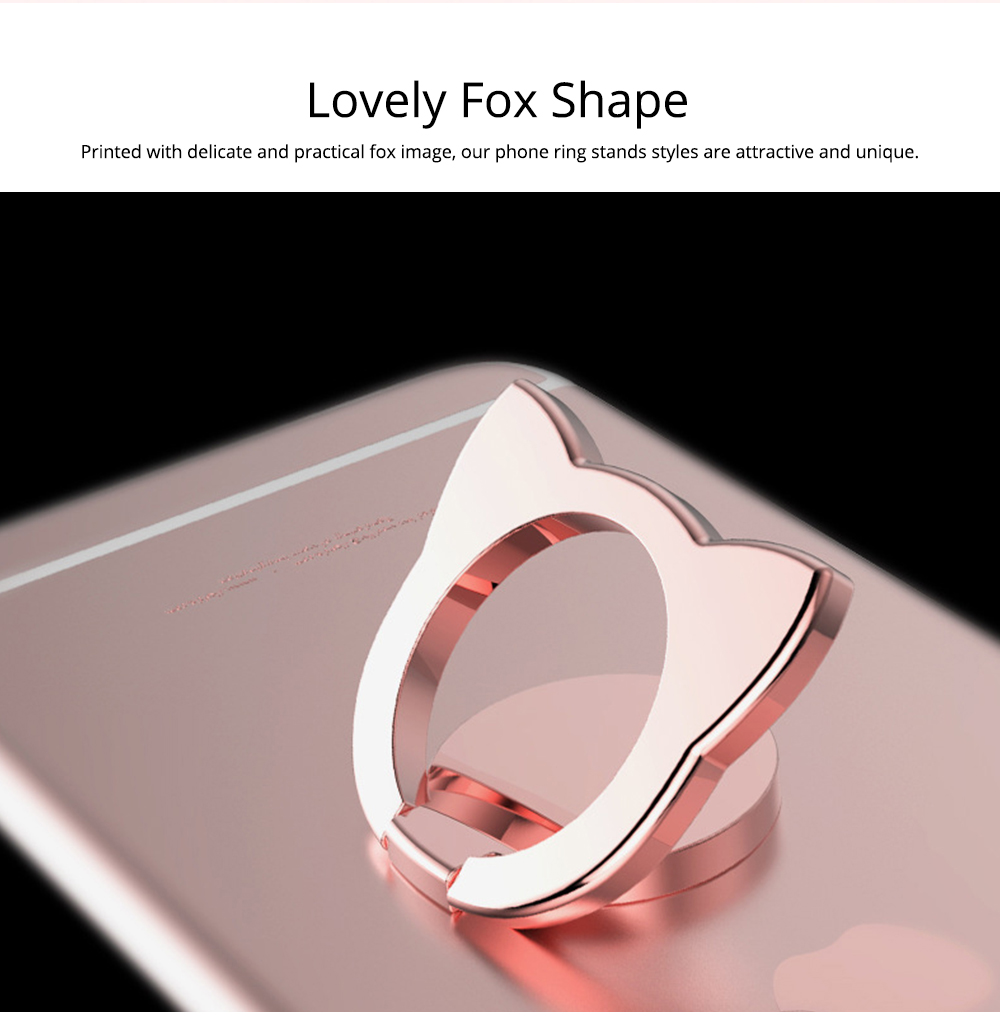 Fox Cartoon Drop-resistant Mobile Phone Ring Buckle, 360 Degree Magnetic Metal Phone Bracket 2