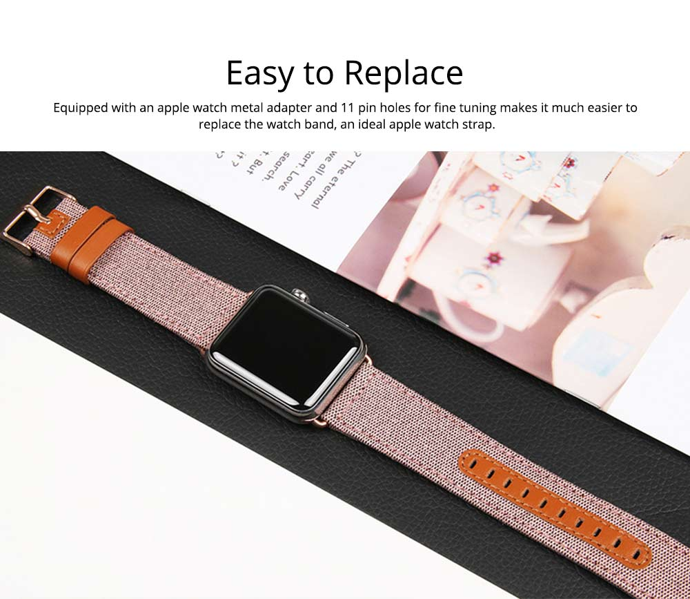 Genuine Leather Apple Watchband Strap with Stainless Steel Watch Buckle for Apple iWatch 1/2/3 6