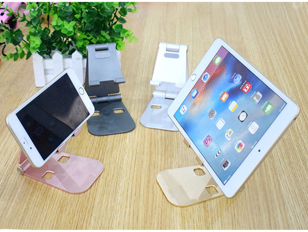 Aluminum Alloy Desktop Phone Holder, Portable Double Adjustable Folding Mobile Phone Tablet Bracket for Universal Compatibility 6