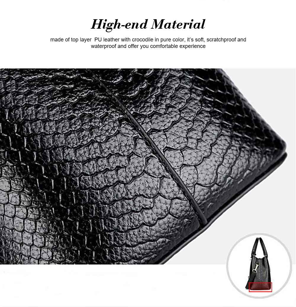Leather Crocodile Pattern Fashion Handbag With Firm Hooks, Scratchproof Waterproof Messenger Bag for Middle-aged Mother 1