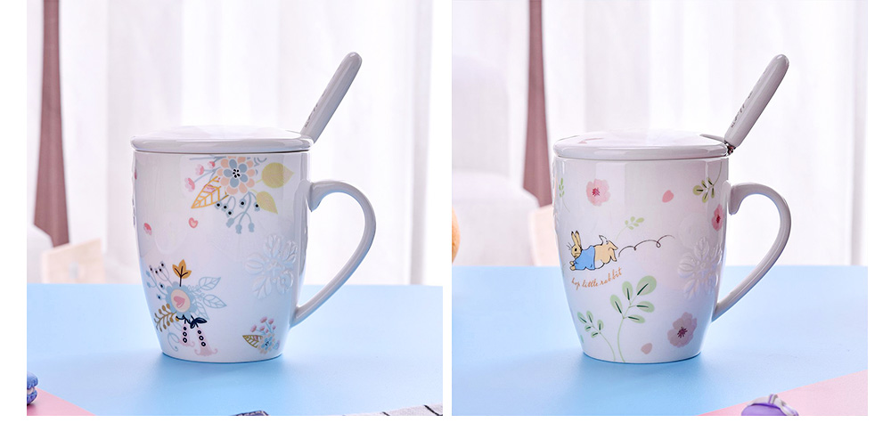 Ceramic Mug Embossed Painting with Cover Spoon for Office Water Coffee Porcelain Cup 7