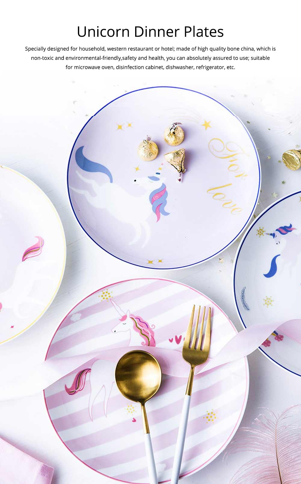 Unicorn Dinner Plates, Bone China Rainbow Steak Plate  0