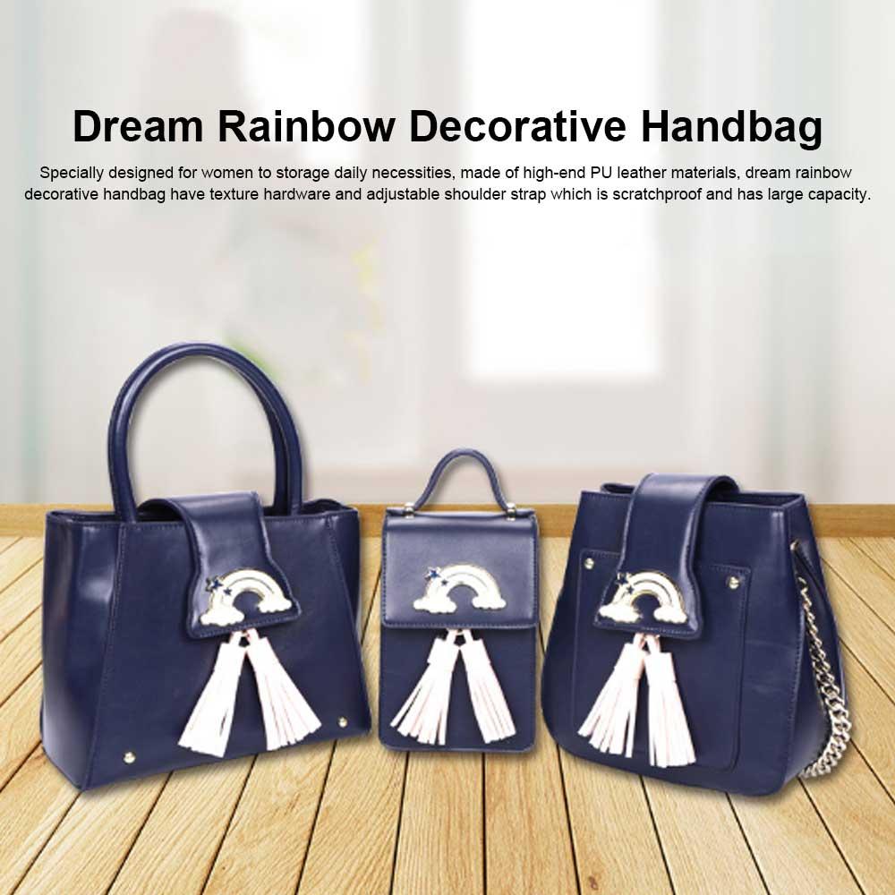 Fashion Female shoulder Bag, Dream Rainbow Decorative Handbag with Adjustable Hand Strap and Metal Zipper 0