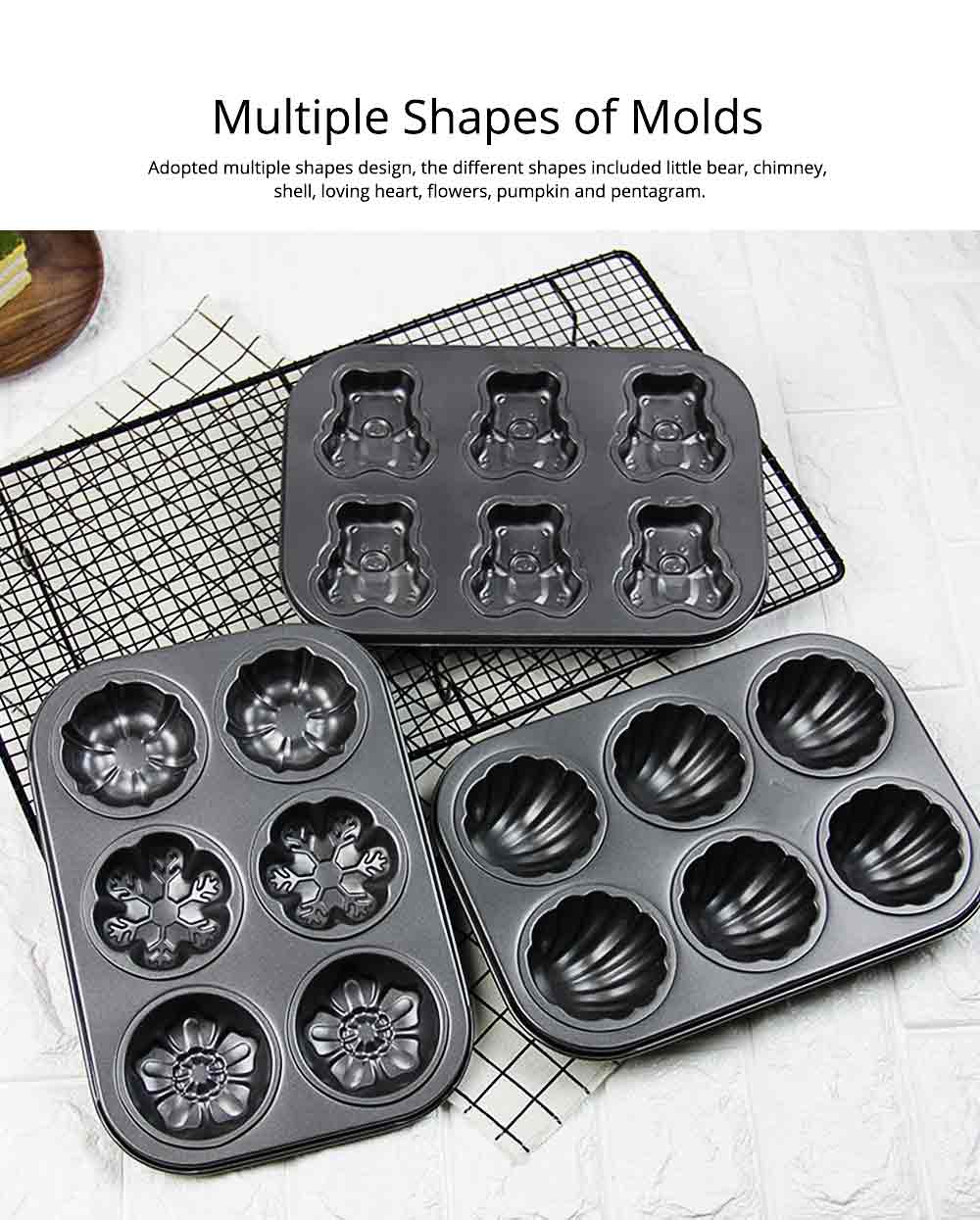 6 Cups Muffin Pan Bread Molds Cake Bakeware, Seashell Bear Shape DIY Chocolate Baking Mould 3