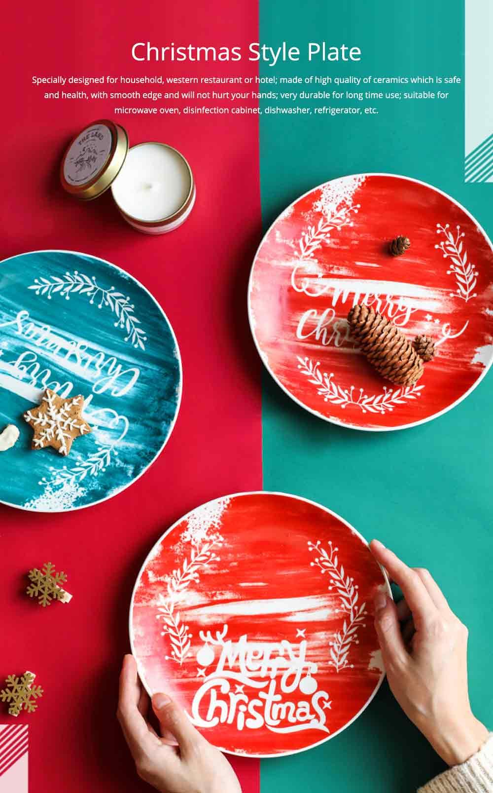 Christmas Painted Ceramic Plates, Christmas Style Steak Dinner Plates 0