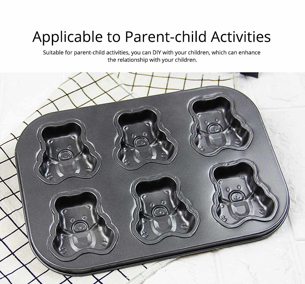 6 Cups Muffin Pan Bread Molds Cake Bakeware, Seashell Bear Shape DIY Chocolate Baking Mould 5
