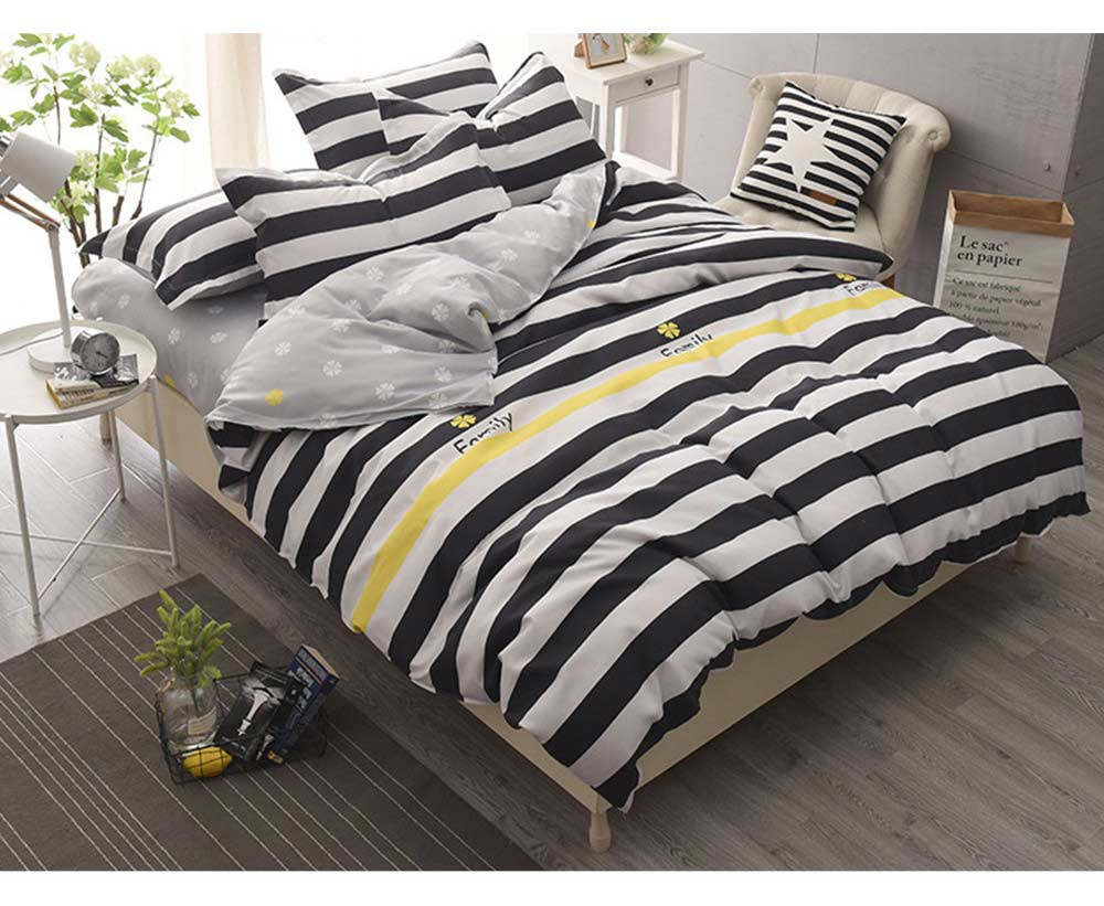 Simple Style Quilt Cover Sheet Pillowcase Bedding Set 4 Pieces 9