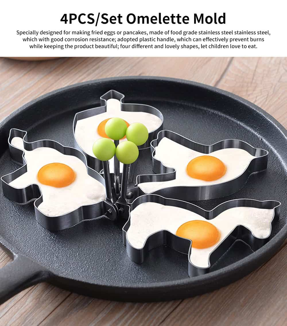 4PCS/Set Omelette Mold, Stainless Steel Cartoon Shape DIY Fried Egg Molds 0