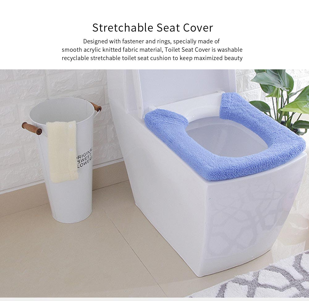 Warmer, Universal, Ultra-thick Toilet Stretchable Seat Cover with Pressed Fastener and Rings 0