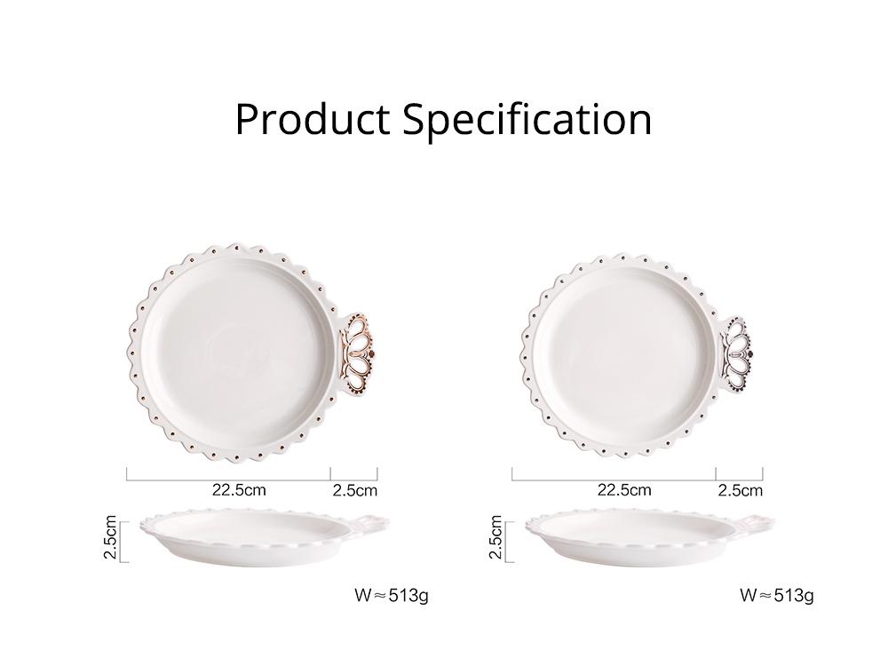 Crown Dinner Plates 10 inches, Porcelain Ceramic Breakfast Tray Steak Plate 18