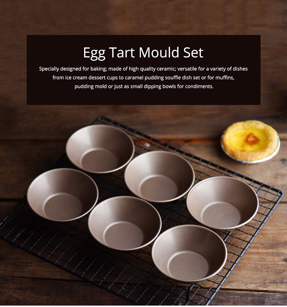 Egg Tart Mould Set, Carbon Steel Non-stick Cupcake Baking Cups, Cake Cookie Mold 0