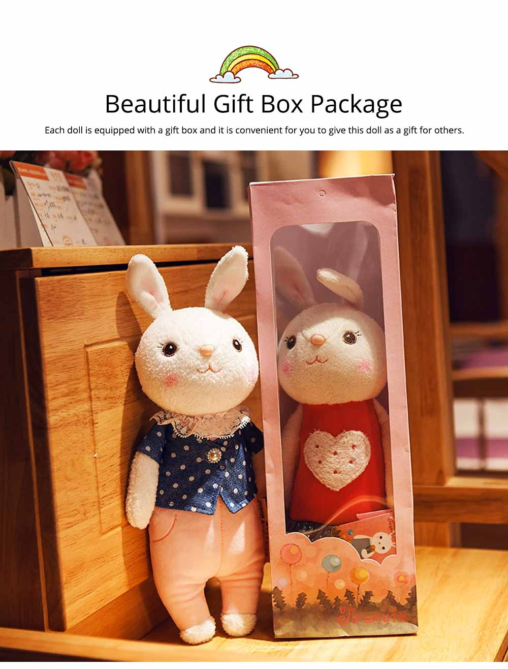 Cute Cartoon Tiramitu Rabbit Plush Stuffed Toy, Ultrasoft Smooth Children's Day Present Doll 7