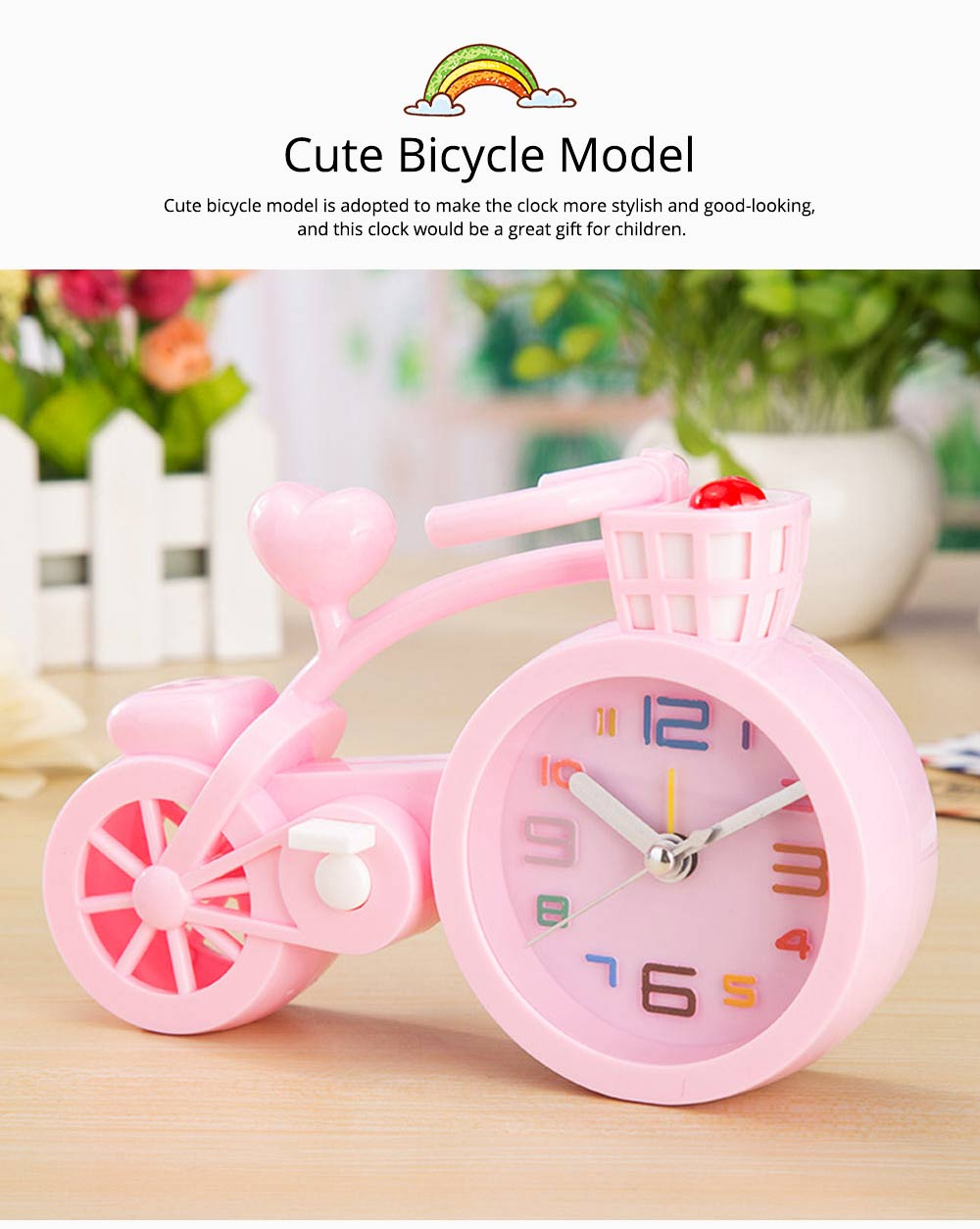 Creative Table Bike Model Alarm Clock, Stylish Minimalist Bicycle Clock 3