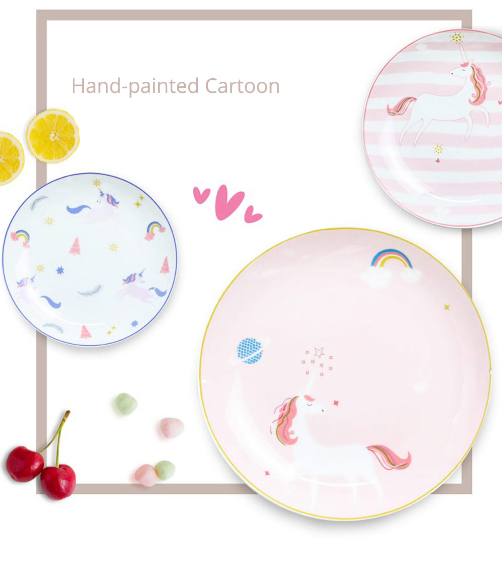Unicorn Dinner Plates, Bone China Rainbow Steak Plate  4