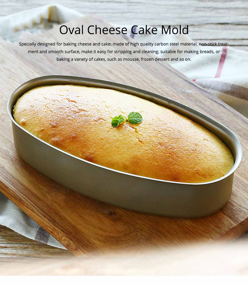 Oval Cheese Cake Mold, Non Stick Carbon Steel Cake Pan Pudding Mold Baking Tray 0