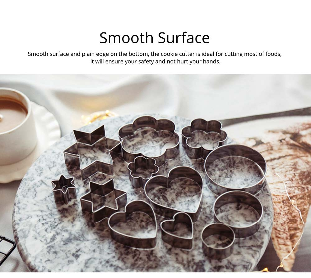 DIY Baking Mould Cookie Cutters 12PCS/Set,  Stainless Steel Round Hexagon Flower Shape Molds 3