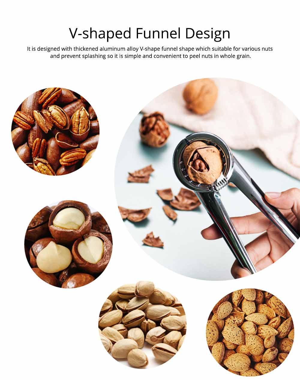Splash Proof Nut Cracker for Various Nuts, Multifunctional Walnut Clip with V-shape Funnel Design 4