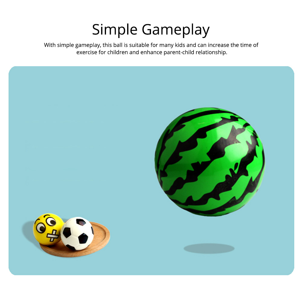 Watermelon Rubber Bounce Ball, Inflatable Elastic Punch Parent-child Interaction Ball with Handle 13