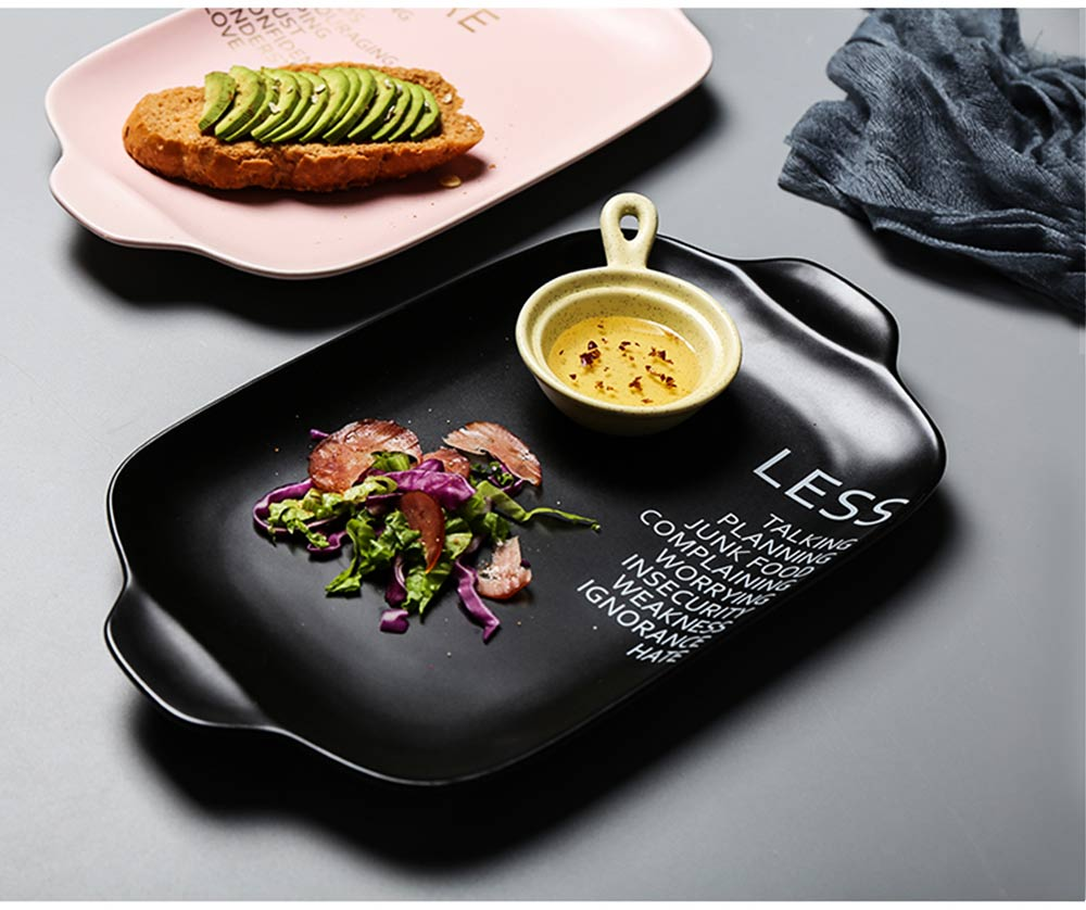 Ceramic Breakfast Food Trays, 12 inches Double-ear Rectangle Steak Plate 6