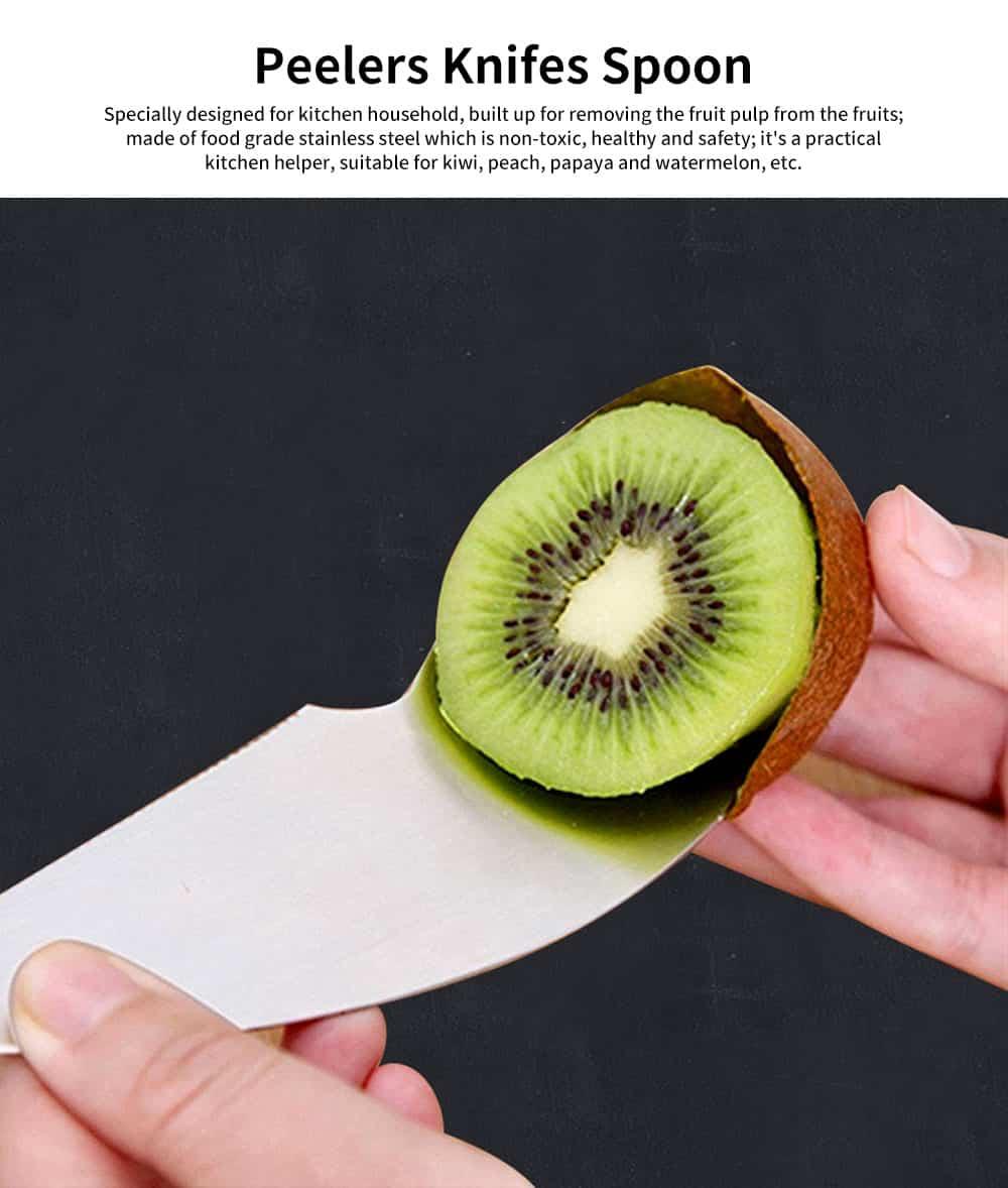 2 in 1 Peeler Cutter Knife, Stainless Steel Fruit Pulp Spoon Knife Peeler 0