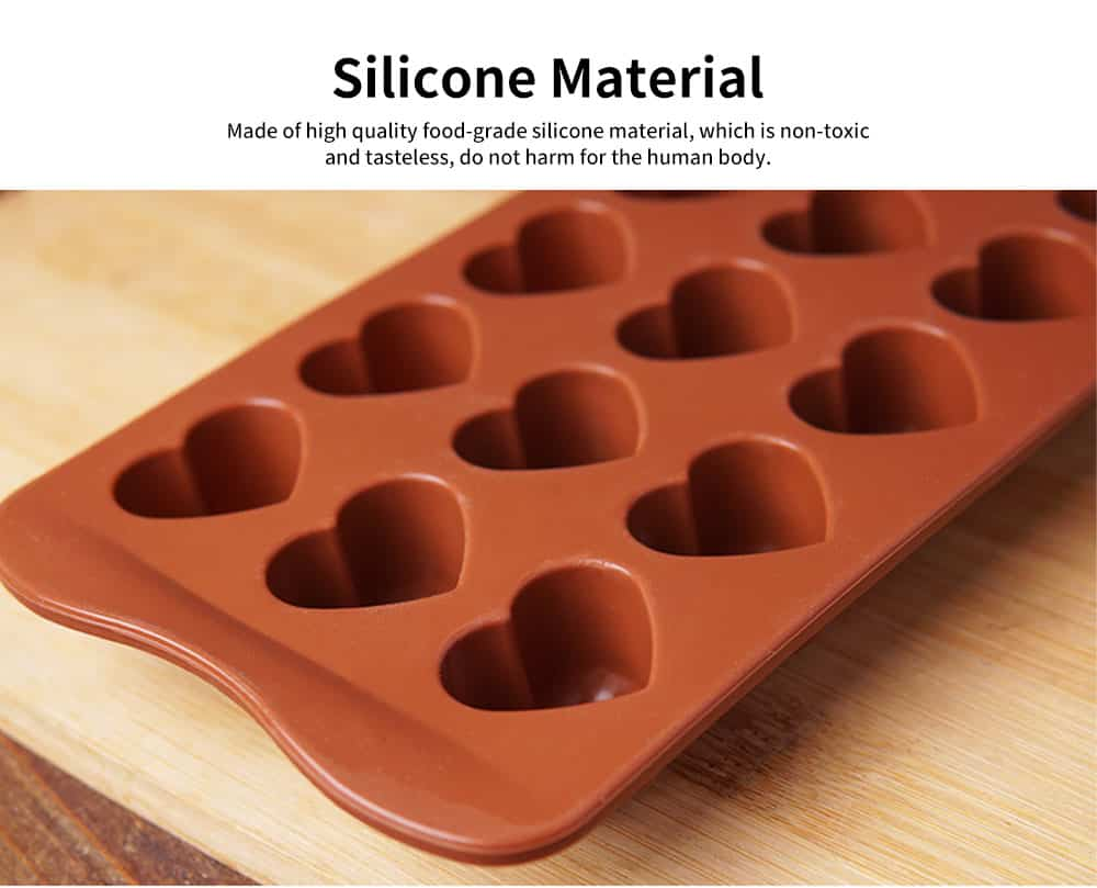Multi Shape Baking Mold with 15 Holes, Silicone Chocolate Candy Pudding Jelly Lollipop Silicone DIY Mold 1