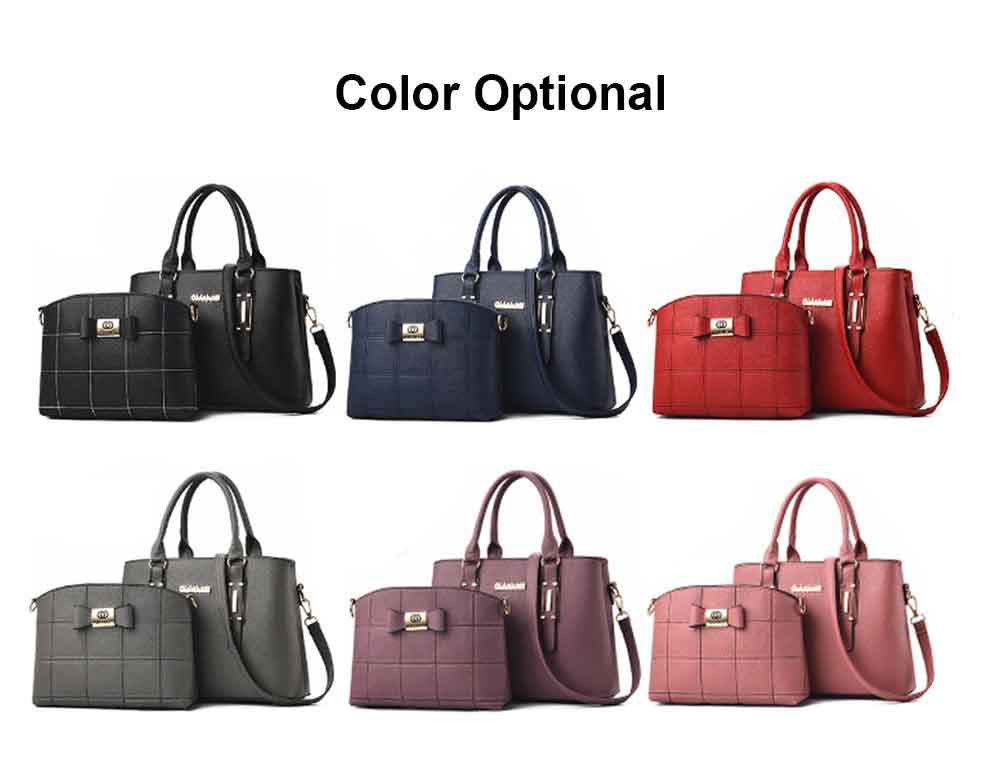 Fashion PU Leather Women's Shoulder Bag With Metal Reinforced Hand 2 Sets bags 17