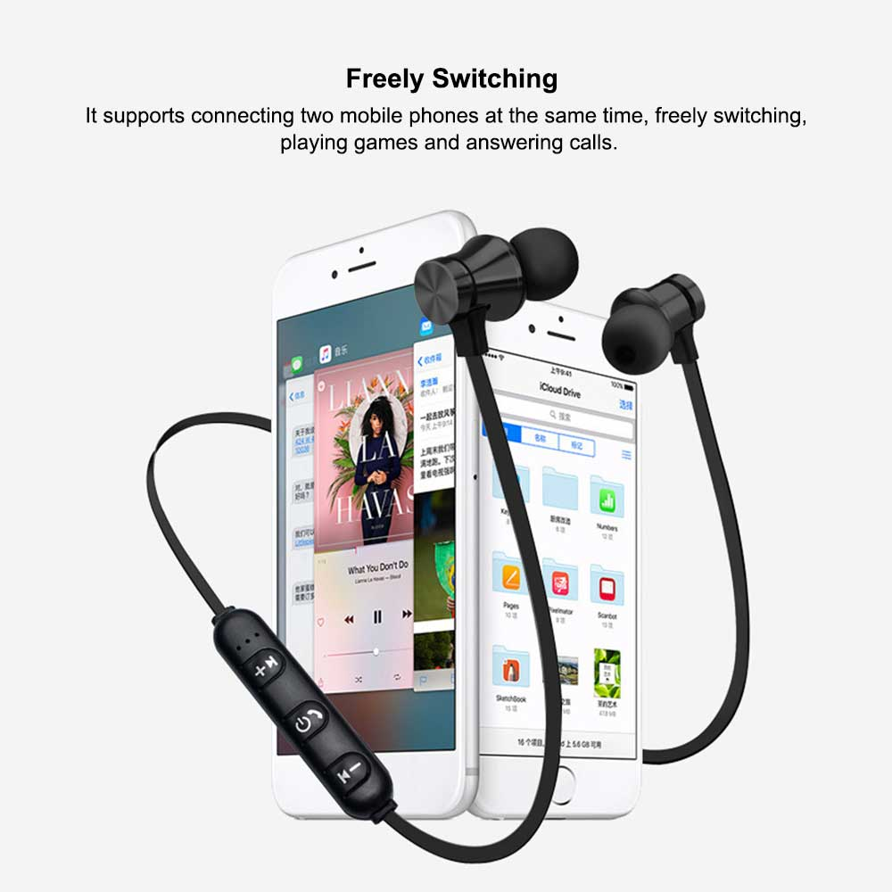 Magnetic Sports Music 4.2 In-Ear Bluetooth Headset, Neck-mounted Bluetooth Headset 5