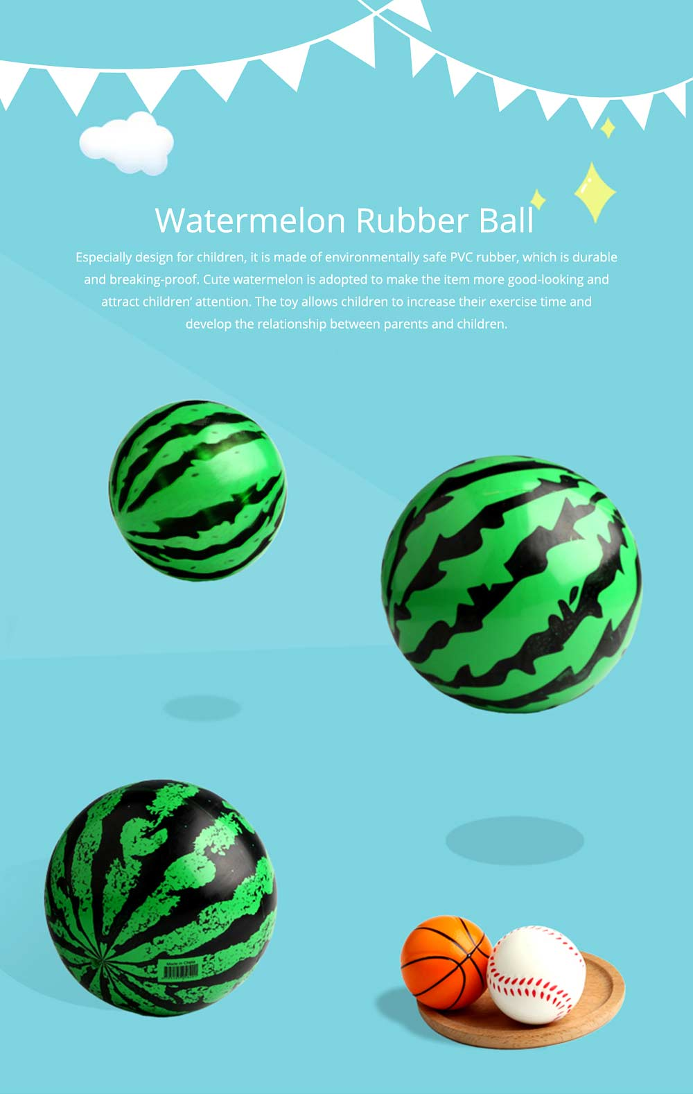 Watermelon Rubber Bounce Ball, Inflatable Elastic Punch Parent-child Interaction Ball with Handle 0