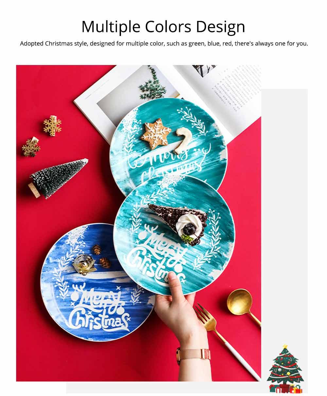 Christmas Painted Ceramic Plates, Christmas Style Steak Dinner Plates 5