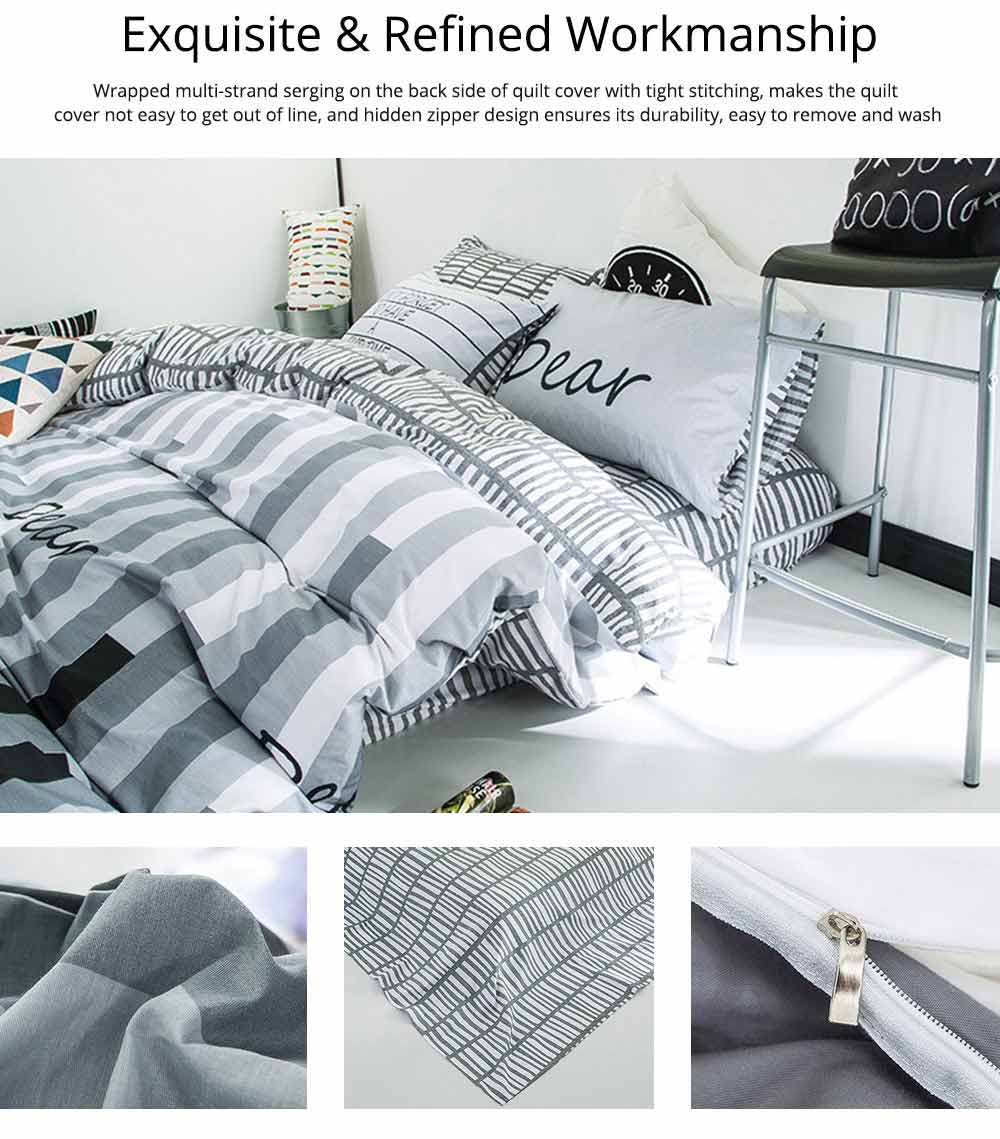 Simple Bedding Set 4 Pieces, Activated Dyeing & Printing 100% Organic Cotton Bedding Set 4