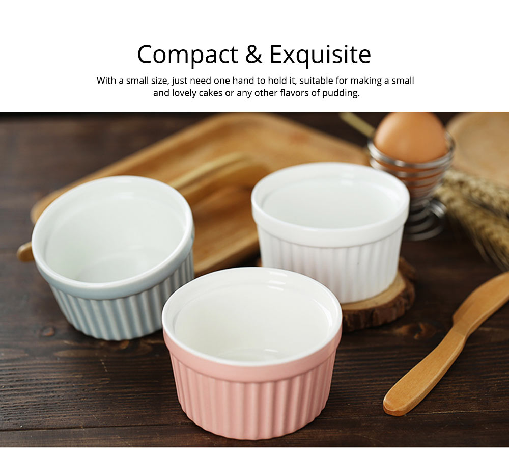 Round Porcelain Baking Dishes, Ceramic Dessert Bowls Baking Cups for Creme Brulee,  Dipping Sauces 7