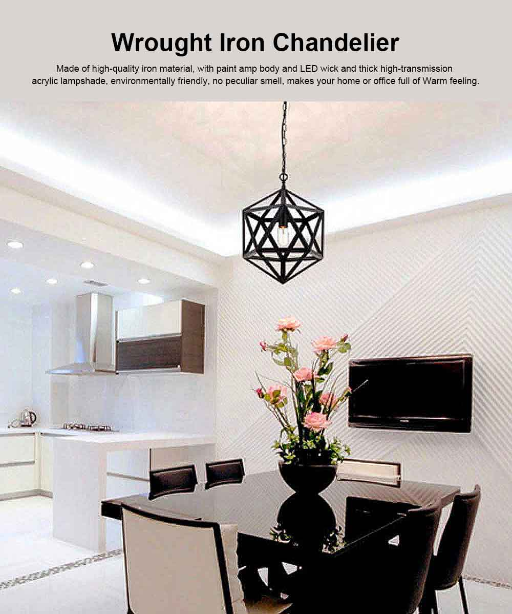 Wrought Iron Chandelier Lighting, American Country Multi-hexahedron Lamp 0