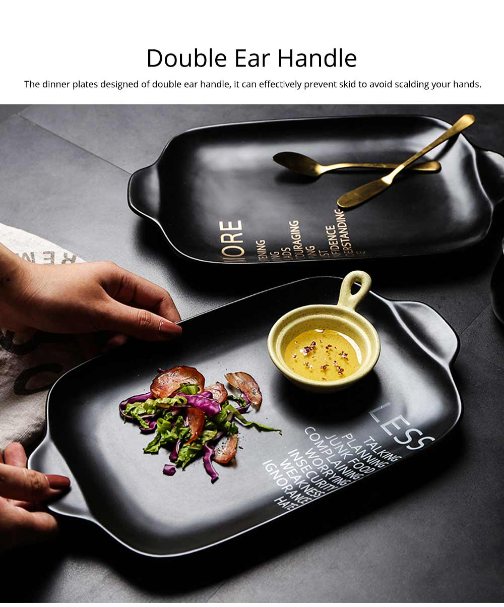 Ceramic Breakfast Food Trays, 12 inches Double-ear Rectangle Steak Plate 5