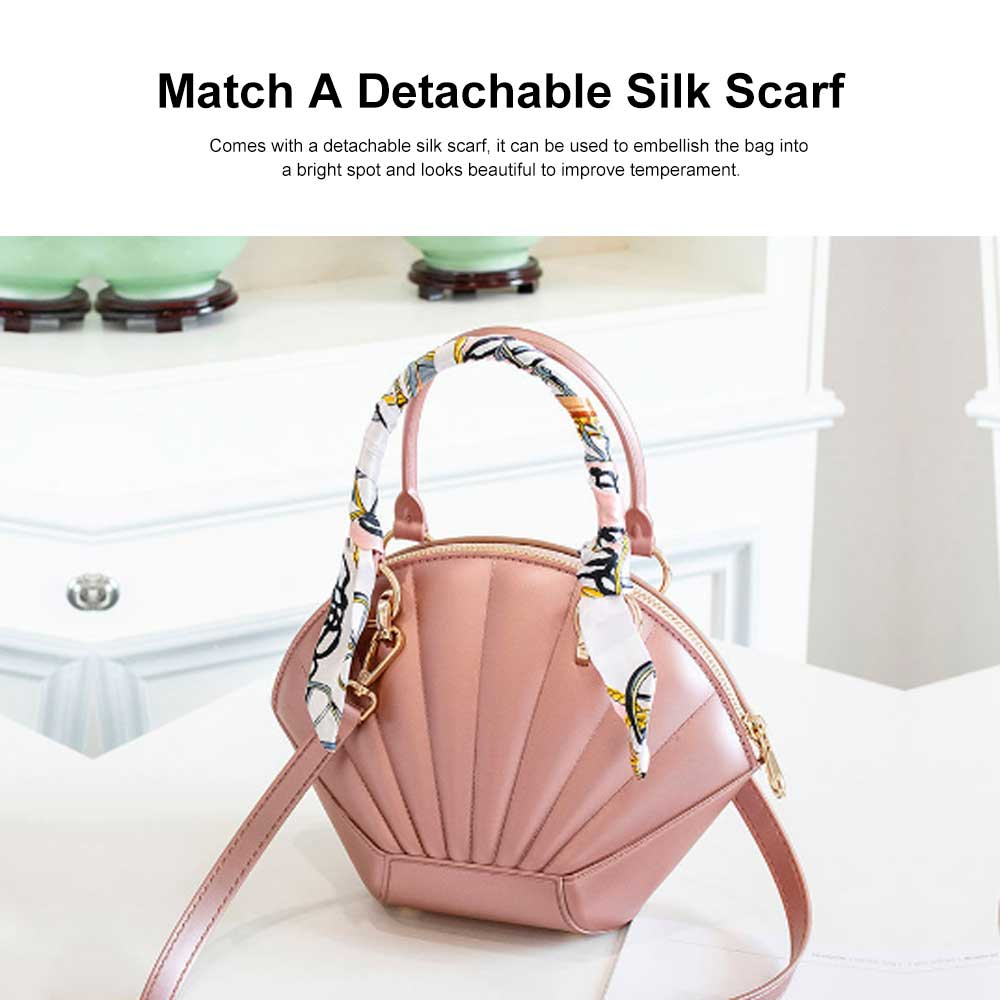Shell Shaped Jelly Middle Bag, One Shoulder Slanting Matte Zipper Handbag For Ladies 2