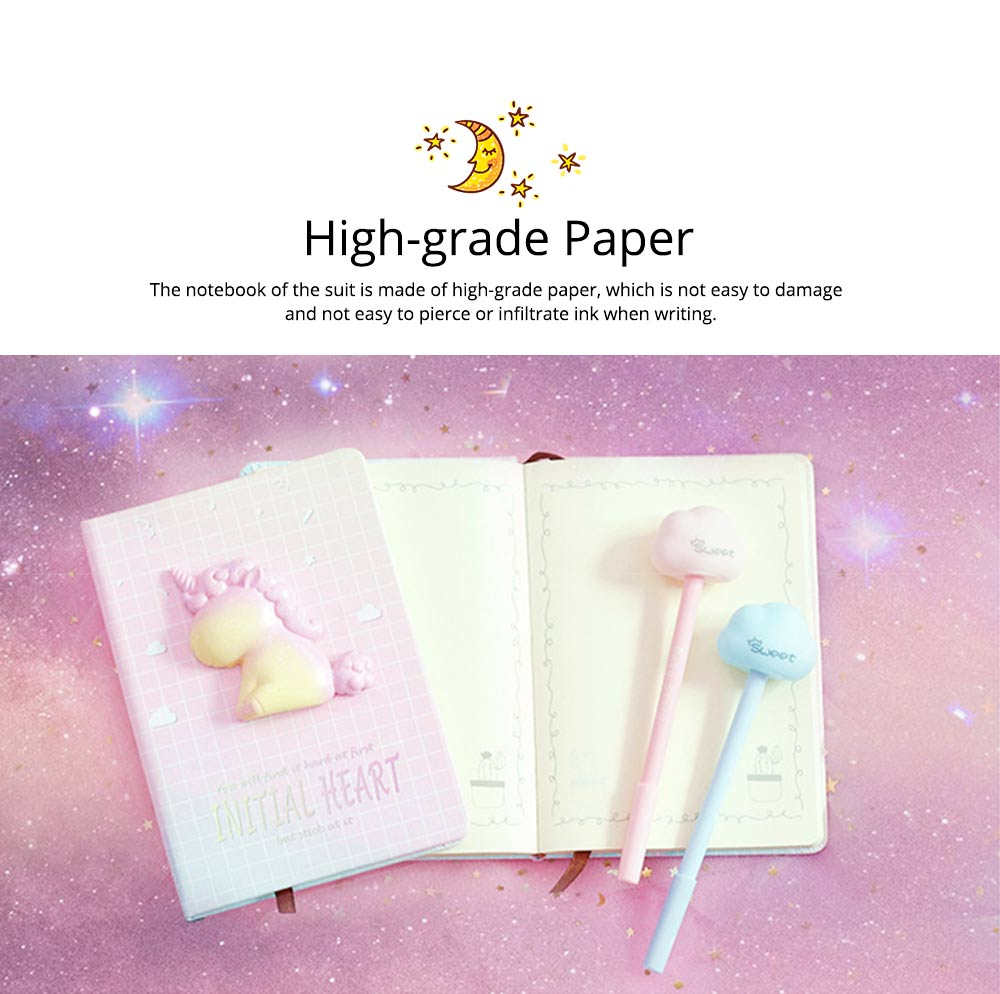 Notebook Pen Sticker Set Birthday Present, Fantasy Starry Sky Unicorn Hand Account Book Suit 1