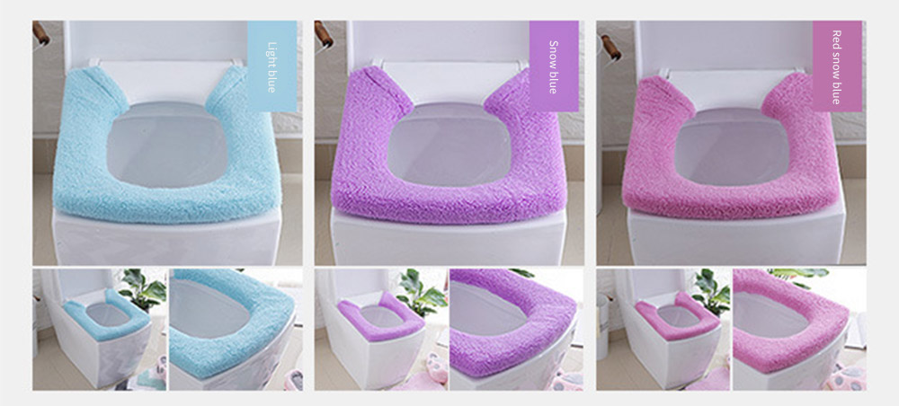 Warmer, Universal, Ultra-thick Toilet Stretchable Seat Cover with Pressed Fastener and Rings 12