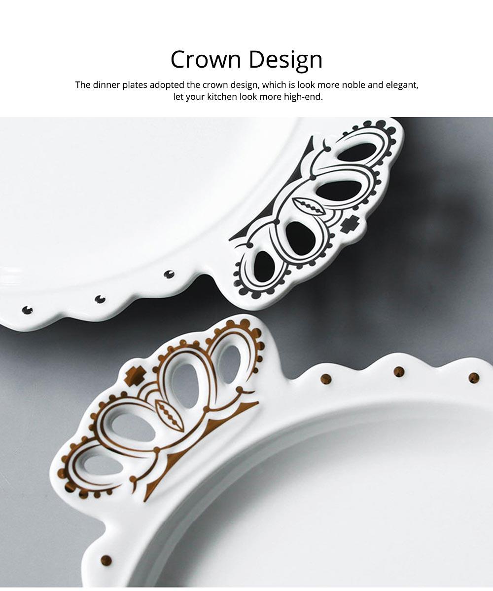 Crown Dinner Plates 10 inches, Porcelain Ceramic Breakfast Tray Steak Plate 10