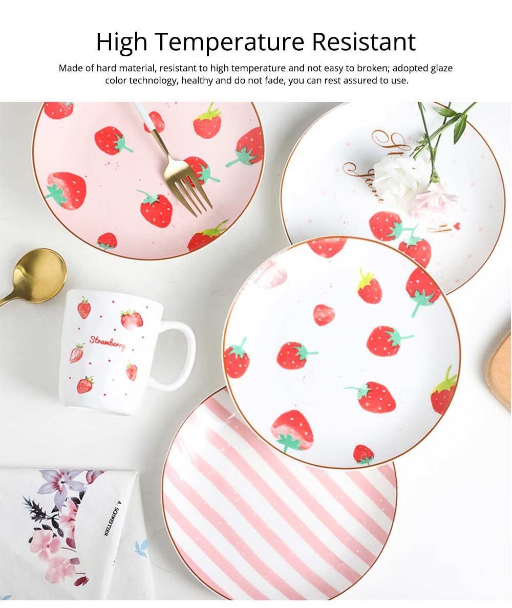 Bone China Dinner Plate Strawberry Pattern, Household Cute Plate Tableware Set 15