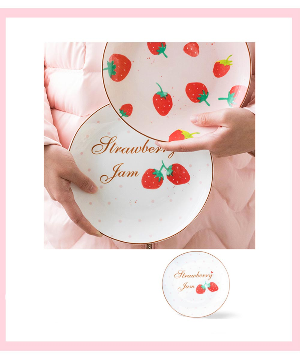 Bone China Dinner Plate Strawberry Pattern, Household Cute Plate Tableware Set 14