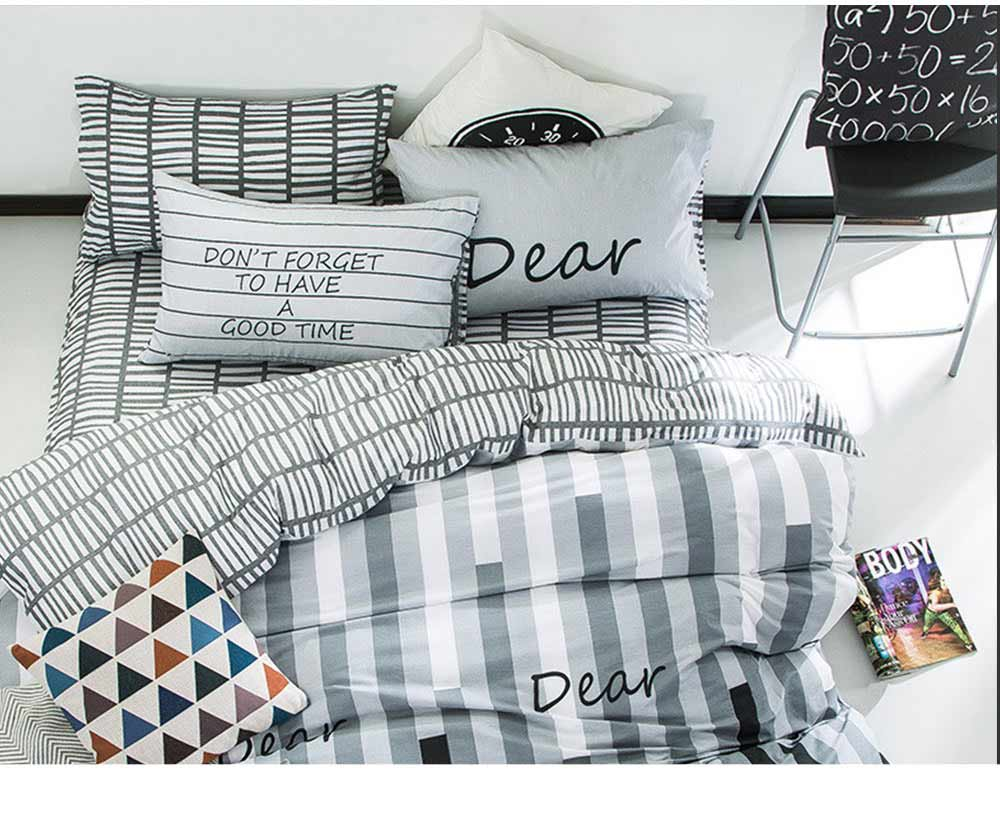 Simple Bedding Set 4 Pieces, Activated Dyeing & Printing 100% Organic Cotton Bedding Set 7